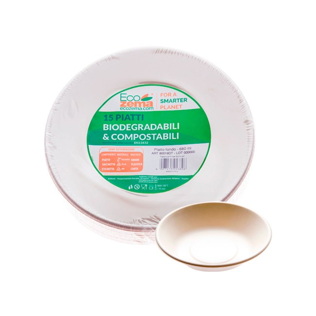 4d66187e904c Diametro 18 cm. Piatti fondi biodegradabili e compostabili